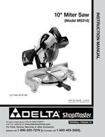 Delta Shopmaster Ms210 10 Miter Saw Instruction Manual