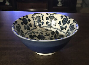 """SET of 2 Japanese Rice Noodle Bowl 6/""""D Porcelain Tayo Blue Hollyhock JAPAN MADE"""