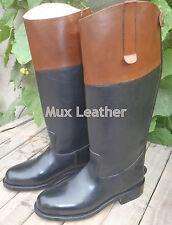 Mux Cuero Caza del Zorro Vestido De Cuero Equitación Bota con tan TOP UK 5-12
