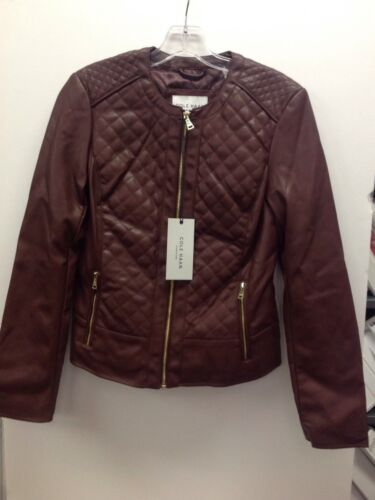 COLE HAAN Quilted Faux Leather Collarless Dark Burgandy Jacket Coat Womens Sz S