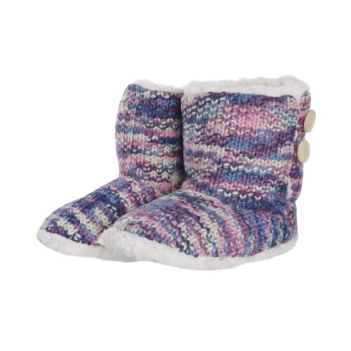 Womens Knitted Bootie Slippers Two Tone Colours Button Detail Sherpa Purple//Grey