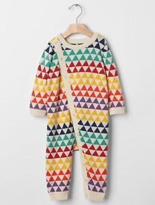 GAP Baby Boy / Girl Size 0-3 Months Multi-Color Festive One-Piece Sweater Romper
