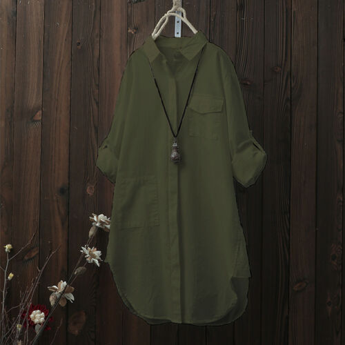 S-5XL ZANZEA Women/'s Casual Long Shirt Tops Asymmetrical Lapel Blouse Plus Size
