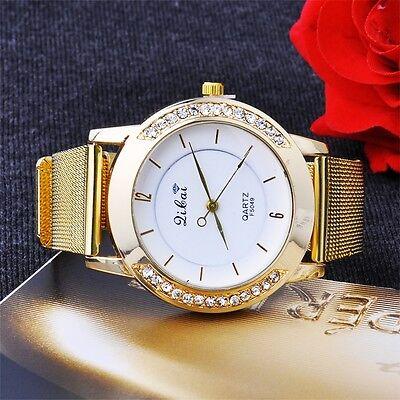 Hot Girl Lady Women Fashion Wrist Quartz Round Watch Dress Watches Golden Color