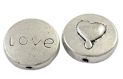 10 Antique Silver Love Heart Charms - Valentines Charms - Love Word Logo 13mm
