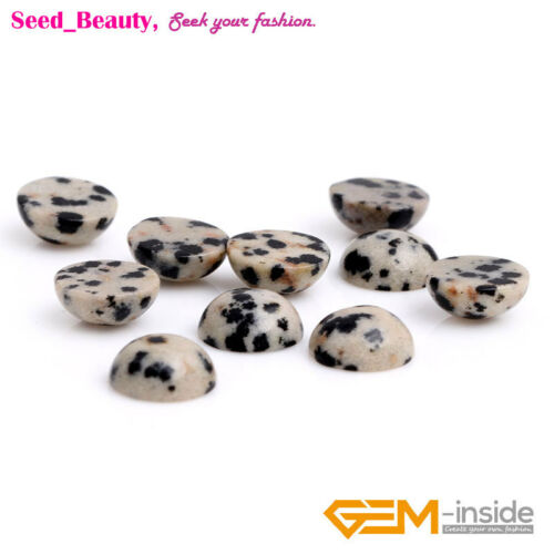 Natural Round Oval Dalmatian Stone Cabochon Beads For Jewelry Craft Making 5Pcs