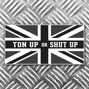 TON-UP-OR-SHUT-UOP-black-and-white-union-flag-motorbike-sticker-90mm-x-45mm