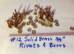 "#12 SETTER /& 1 Dozen Size #12 Solid BRASS Rivets /& Burrs Washers 3//4/"" Long"