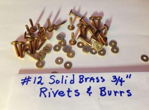 "SIZE #12 SOLID BRASS RIVETS /& BURRS//WASHERS 3//4/"" Long/_Pack of 12 Sets U.S SELLER"