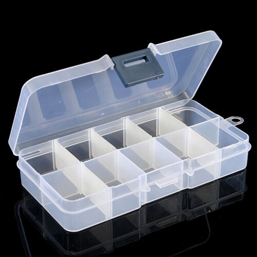 10 Compartments Clear Plastic Storage Box Jewelry Bead Screw Container Cnsdm
