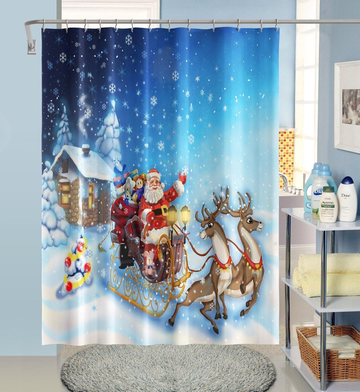 3D Santa Claus 438 Rideau de Douche Imperméable Fibre Salle de Bain Home Windows Toilette