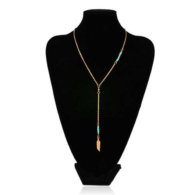 Vogue Classical Bohemian Cute Hand-beaded Feather Pendant Women Chain Necklace