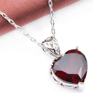 Genuine-Natural-Heart-Fire-Red-Garnet-Gemstone-Platinum-Plated-Necklace-Pendant