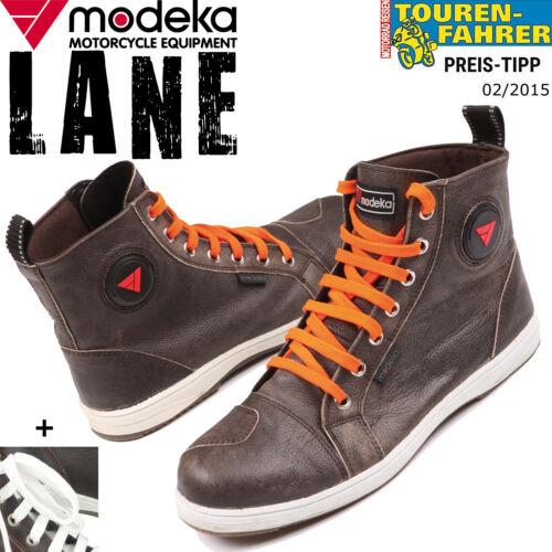 MODEKA LANE braun Motorrad Sneaker Schuhe Leder 2 Paar Schnürsenkel 15cm Höhe