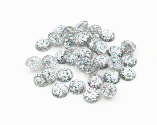 10mm Glitter Resin CabochonsBright Colours40pcs9 Colours or Mixed