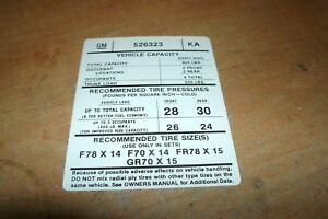 1974  FIREBIRD TRANS AM TIRE PRESSURE DECAL
