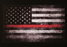 Tattered American Flag Firefighter Red Line Decal Sticker Graphic USA Punisher