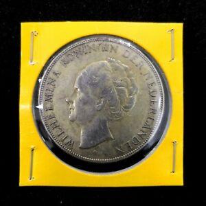 1930 Queen Wilhelmina of the Netherlands 2 1/2 Gulden Silver Coin