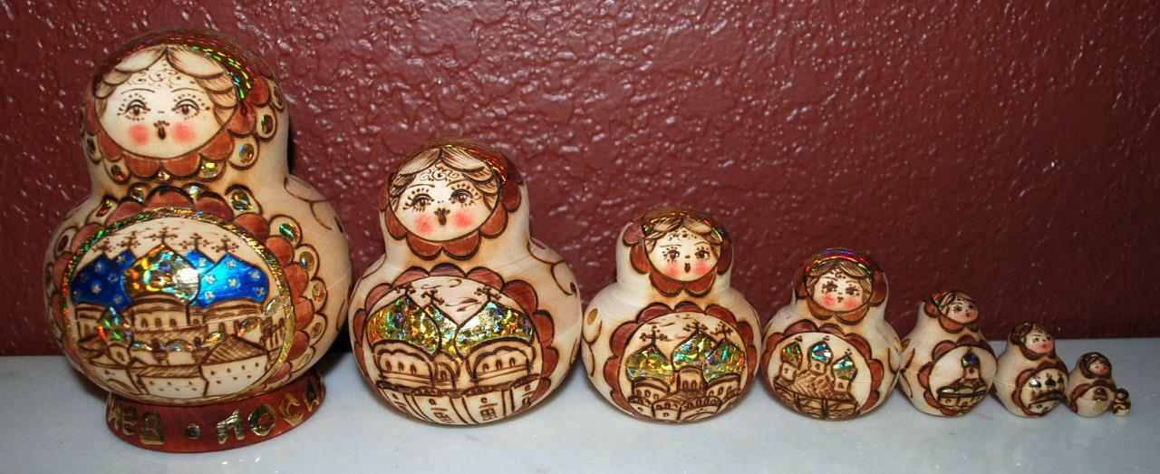 RUSSIAN SERVIA HOLOGRAPHIC Gold FOIL WOODEN NESTING DOLLS 8 PIECES SS2