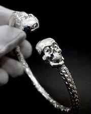 Biker Skull Gothic West Indian Sterling Silver  Cuff Bangle Ball Bracelet