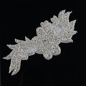 Sew-Iron-On-Beaded-Rhinestone-Silver-Applique-Bridal-Dress-Patch-Motif-Diamante