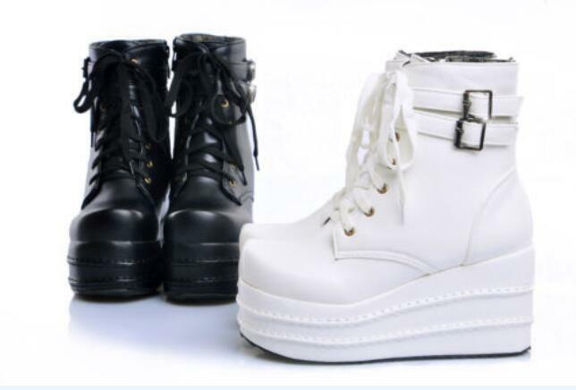 US4-11 Womens goth lace up ankle boots platform wedge Fashion shoes Punk style