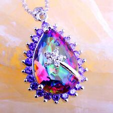 Amethyst Rainbow /& Pink Topaz Morganite Ruby Spinel Gems Silver Pendant Necklace