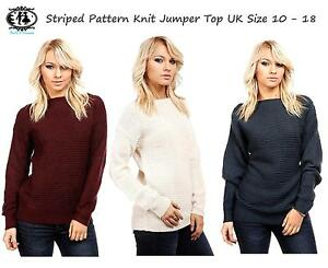 0fbe32064cf72 LADIES PLUS SIZE 10-18 BATWING JUMPER KNITTED SWEATER STRIPED RIPPED ...