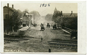 RPPC-NY-Bliss-1908-Horse-Drawn-Wagons-Street-Scene-Wyoming-County