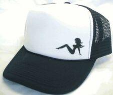 Left side mudflap girl Trucker Hat mesh Hat Snap Back Hat black