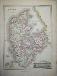 1819-MAP-OF-DENMARK-BY-JAMES-WYLD-amp-ENGRAVED-BY-HEWITT-ORIGINAL-HAND-COLOURED