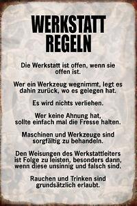 Werkstatt-Regeln-Blechschild-Schild-gewoelbt-Metal-Tin-Sign-20-x-30-cm-R0912