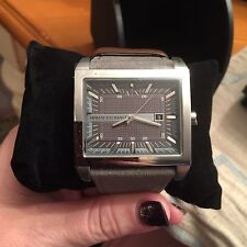 New A|X Armani Exchange AX2212 Grey Dial Grey Leather Strap Men's Watch