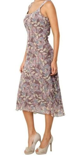 Adini Soft Geogette Lined Floral Print Sleeveless Dress in Mink Taupe