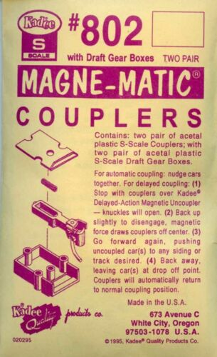 Kadee S Scale Magne-Matic Coupler w// Draft Gear Boxes Detail #KAD802