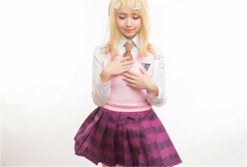 Danganronpa V3 Akamatsu kaede Cosplay Costumes High School Sailor Uniform  Set