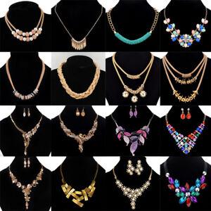 Fashion-Women-Rhinestone-Crystal-Choker-Bib-Statement-Pendant-Necklace-Chain-Set