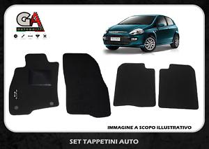 Tappetini Fiat Punto Evo in moquette con stappi di fissaggio e ricamo laterale