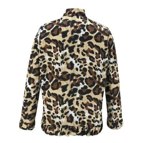 Damen Leopard Winter Jacke Blouson Bomberjacke Biker Übergangsjacke Zip Mantel