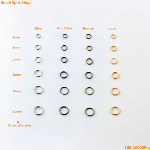 7 6 Jump Rings Double Loop Split Rings 5 8,9,10mm  4 Color 100-10000Pcs