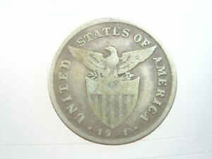 Philippines-US-20-Centavos-1911-S-Silver-America-Eagle-20-Coin-Money