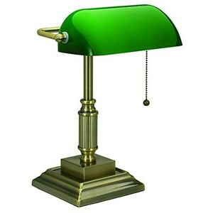 Desk Lamp Green Glass Shade Banker S Traditional Style