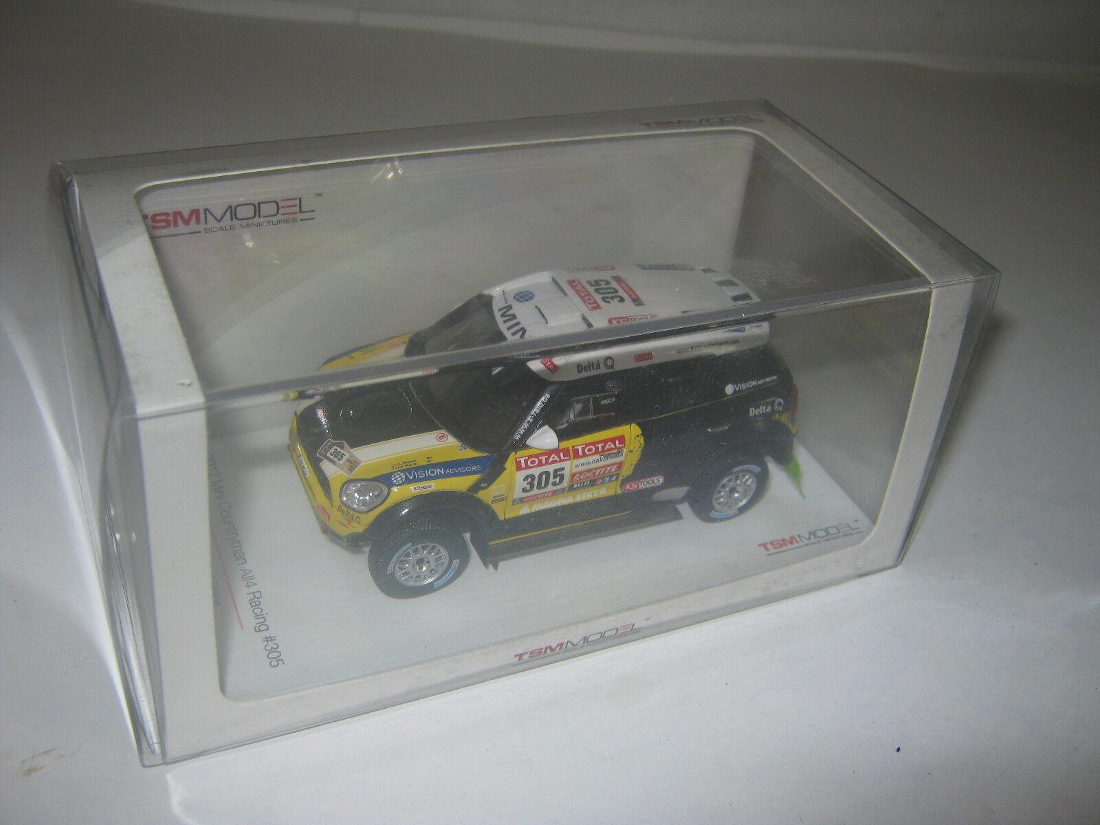 1 43 Mini Countryman all4 Racing Dakar 2012 TSM MODELS 144343 neuf dans sa boîte New
