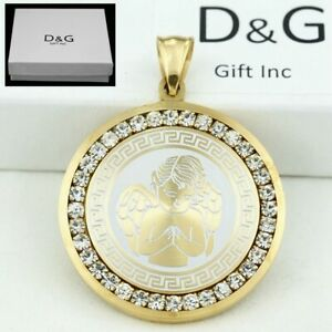 DG-Men-039-s-35mm-Gold-Stainless-Steel-Ice-Out-CZ-ANGEL-Pendant-Box