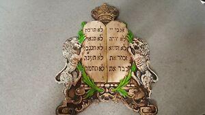 Jewish-Hebrew-Lions-Of-Judah-10-Commandments-Wall-Decor-Judaica-Israel-RARE