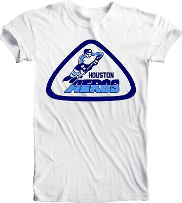 HOUSTON AEROS DEFUNCT WHA HOCKEY VINTAGE STYLE Blue T-SHIRT NEW Size s 4xl