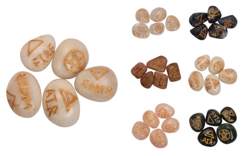 White Agate 5pcs Symbol Tumbled Stone Rose Quartz Sunstone Sodalite Bloodstone