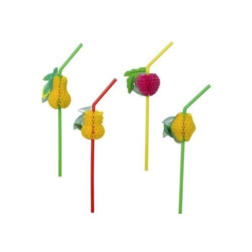 Strohhalm mit Früchten bunt 6 Stück Trinkhalme Hawaii Party Zubehör Dekoration