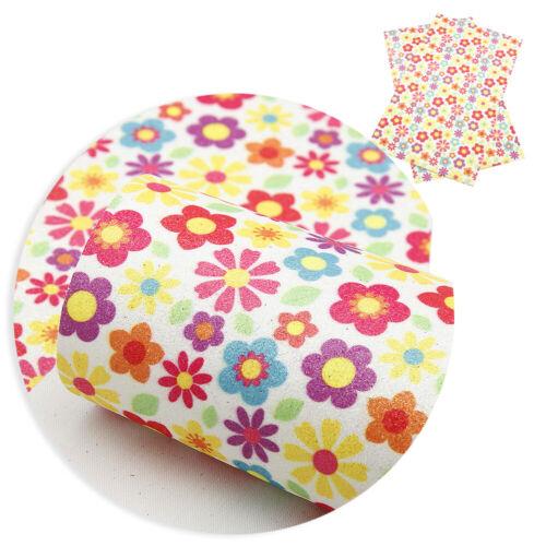 Impresión Floral Hojas de tela brillo imitación de cuero de Cuero Artificial hágalo usted mismo Pelo arcos Paño