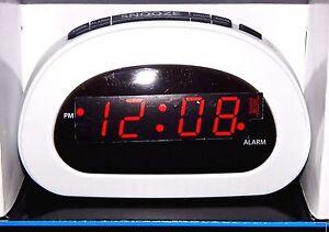Image Is Loading Mainstays Led Digital Alarm Clock Electric W Battery